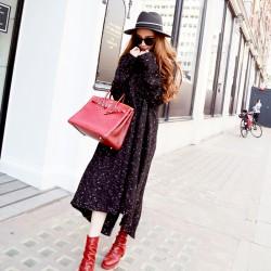 QUEENIES Exclusive production Turtleneck knitting dress