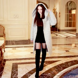QUEENIES Exclusive production Gray woolen textured coat
