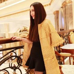 QUEENIES Exclusive production Golden Long sleeve long coat