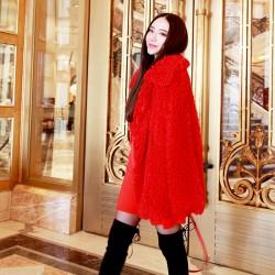 QUEENIES Exclusive production Artificial fu wool lapel coat Great Offer