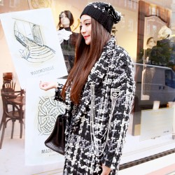 QUEENIES Exclusive Production Thick Multi Colors Woven Knitted Coat