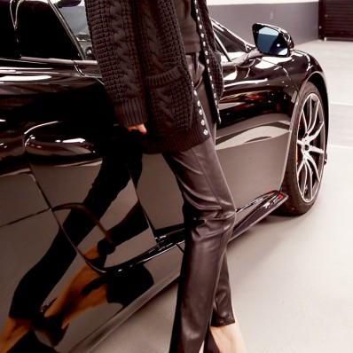 QUEENIES Exclusive Production Lambskin Unique Design Leather Legging