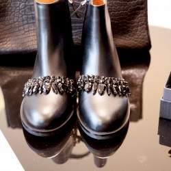 QUEENIES Exclusive Production Handmade Diamond Drop Gem Leather Boots