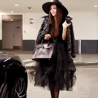 QUEENIES Exclusive Production Black Chiffon Tutu Dress