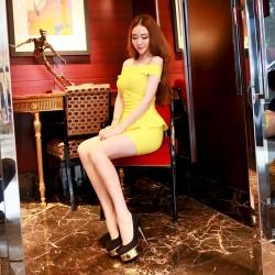 QUEENIES Exclusive Production Super Sexy Lemon Crop Dress