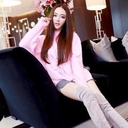QUEENIES Exclusive production Stand collar pink jumper