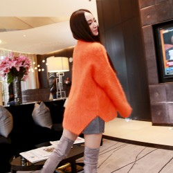 QUEENIES Exclusive Production Salmon Red Mink Cashmere Jumper