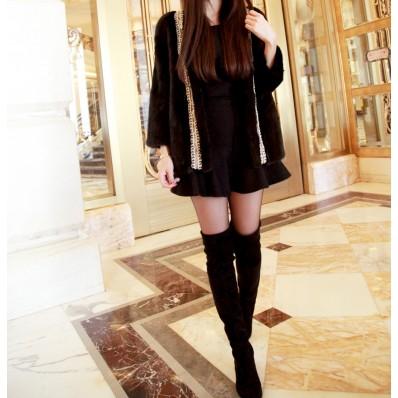 QUEENIES Exclusive production blackbeading embrodiery mink coat